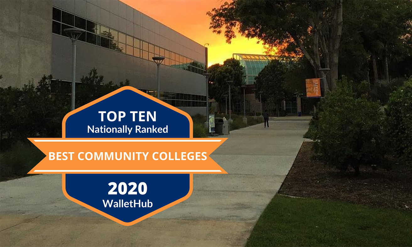 """Top Ten Community College Nationally Ranked"" text on badge with OCC Planetarium in background"