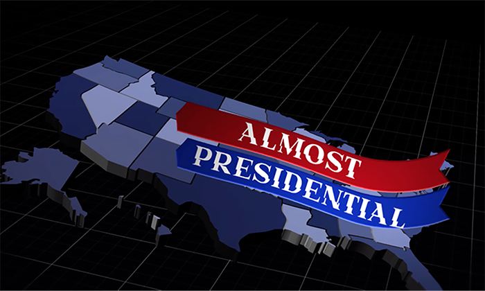 image of united states with red and blue flags with words Almost Presidential