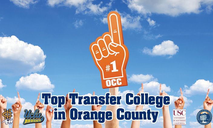 photo of orange foam finger against blue sky with college flags